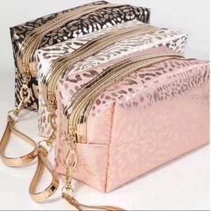 Handbags - Metallic Leopard Print Makeup Bag